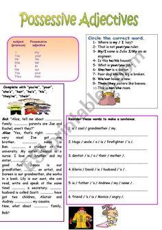 possessive adjectives - ESL worksheet by eltpinar Pre K Math Worksheets, Esl, Names, Education, Words, Onderwijs, Learning, Horse