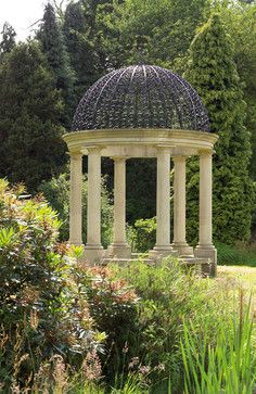 Hellenic elegance :: Neoclassical Gazebo of cast stone columns with wrought iron dome...