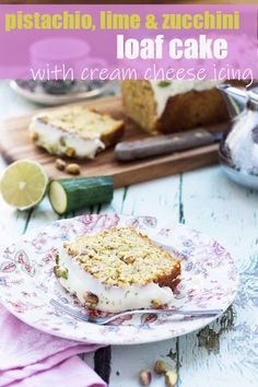 This pistachio, lime and courgette (zucchini!) loaf cake is light, zingy and summery. The cream cheese lime icing on the top takes it from good to heavenly! #cake #zucchinibread #courgettes Easy Cake Recipes, Best Dessert Recipes, Baking Recipes, Loaf Recipes, Delicious Recipes, Zucchini Loaf, Loaf Cake, Cake Bars, Easy Party Food