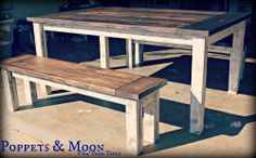 Linen White and Dark Walnut Rustic 6 Foot Farmhouse Table! Solid wood. Planked