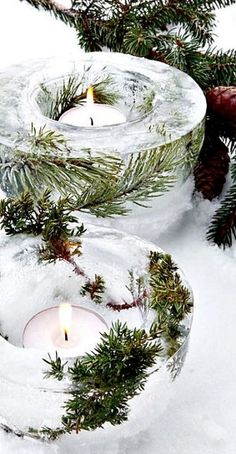 YULE☆Winter Solstice☆ Beautiful Ice Bowl Lanterns to make. Rustic Christmas, Winter Christmas, All Things Christmas, Christmas Holidays, Christmas Decorations, Xmas, Yule Decorations, Merry Christmas, Holiday Crafts