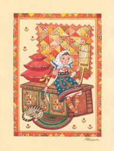 Просмотреть иллюстрацию Маленькая пряха из сообщества русскоязычных художников автора Марина Федорова в стилях: Декоративный, Детский, нарисованная техниками: Акварель, Гуашь.