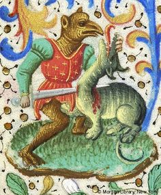 Fantastic beaked figure, with sword in right hand transfixing neck of dragon whose snout he holds with left hand | Book of Hours | France, Paris, ca. 1460 | The Morgan Library & Museum