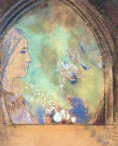 """ Profile in an Arch via Odilon Redon Size: 63x53 cm Medium: pastel on paper"""