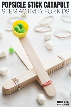 Easy to make popsicle stick catapult for physics for kids. Learn how to build a popsicle stick catapult to explore Newtons laws of motion. We have several catapult design ideas to choose from using different materials but our catapults using popsicle stic Catapult For Kids, Popsicle Stick Catapult, Popsicle Stick Crafts For Kids, Crafts For Kids To Make, Craft Stick Crafts, Craft Ideas, Craft Stick Projects, Craft Sticks, Diy With Popsicle Sticks