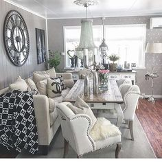 Why not? I love this! And that the dining room table is also the coffee table. And that the chairs are so big & comfy looking