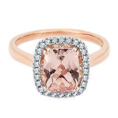 Morganite & 1/8 ct. tw. Diamond Halo Ring in 10K Gold