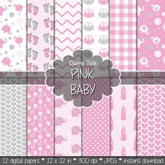 """Baby digital paper: """"PINK BABY"""" with elephants, foot print, hearts, rattles, baby bottles, owls, gingham, polka dots in pink and grey"""