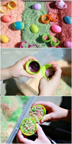 Easter egg sensory bin - perfect for boosting fine motor skills