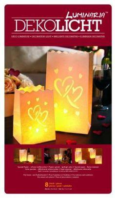 Wenko 8550100 Lichtertüte Luminaria Big Love, 8-er Set, Deko Papierhüllen für Teelichte, Papier, 15 x 26 x 9 cm / 11 x 16 x 11 cm, weiß: 10,90