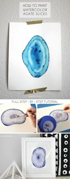 How to Paint Watercolor Agate Slices + Free Printables! Looking for a fun and easy DIY watercolor project with gorgeous results? Learn how to paint watercolor agate slices with this step-by-step tutorial. Watercolor Projects, Watercolour Tutorials, Watercolor Techniques, Painting Techniques, Painting & Drawing, Watercolor Paintings, Watercolors, How To Paint Watercolor, Painting Illustrations