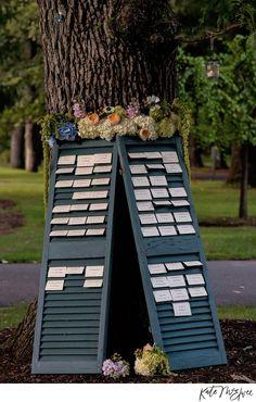Escort Cards at Elm Bank   Kate McElwee Photography:http://katemcelweephotography.com/   Poppy Floral: http://poppyfloral.com/portfolio