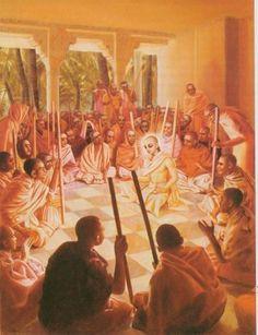 After the Mayavadi sannyasis heard Lord Caitanya, their minds changed, and they began to chant the holy name of Krishna. Krishna Names, Krishna Art, Krishna Quotes, Hare Krishna Mantra, Lord Jagannath, Advaita Vedanta, Krishna Leela, Srila Prabhupada, Lord Krishna Images