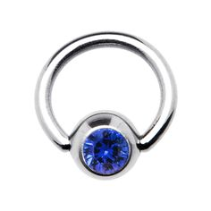 18 Gauge 1/4 Sapphire Captive Ring Created with Swarovski Crystals | Body Candy Body Jewelry