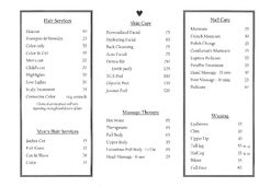 All About You Salon & Day Spa  menu page 2