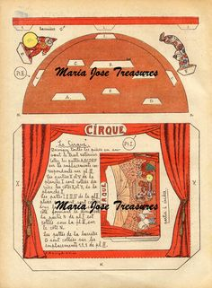 Vintage Circus scene Paper Model Cut Outs - Digital Download by MariaJoseTreasures on Etsy