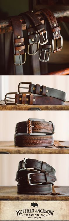 Impressive collection of brown leather belts for men. Whether your fashion sense leans vintage style or western, these simple, rugged men's belts are a must-have for any business or casual outfit. Perfect Father's Day gift.