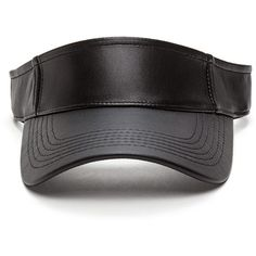 Sun Goddess Faux Leather Visor BLACK ($9.50) ❤ liked on Polyvore featuring accessories, hats, black, sun visor, uv protection hats, sun visor hat, brimmed hat and faux leather hat