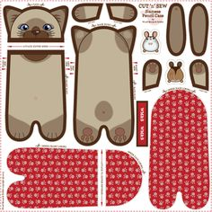 Siamese_Pencil_Case fabric by woodmouse