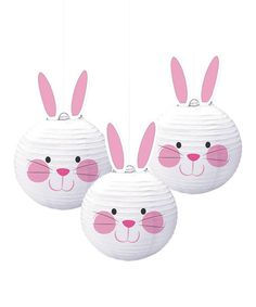 Another great find on #zulily! White & Pink Bunny Shaped Lantern - Set of Three #zulilyfinds