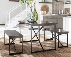 """Features: - Part of Joring Collection - Dark bronze powdercoat Metal base - Dark brown table top - MDF Seat Bench Product Dimensions: - Rectangular Dining Room Table Set (3/Cn): 30""""W x 48""""D x 30""""H - 1"""