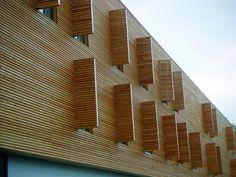 Risultati immagini per wooden facade detail Wooden Facade, Wooden Shutters, Wood Detail, Forest House, Wood Slats, Cladding, Facades, Stairs, Exterior