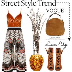 Street Style Trend. .. Lace Up by conch-lady on Polyvore featuring Temperley London, Boohoo, Gianvito Rossi, UGG, Lalique, StreetStyle, laceup and laceupbooties
