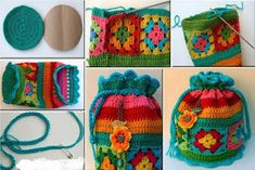 Crochet Granny Square bag with pull string.Simple and Easy crochet using Granny SquaresI' ve got my own granny squares!No automatic alt text available.Pinned using PinFace! Beau Crochet, Crochet Mignon, Free Crochet Bag, Crochet Purse Patterns, Crochet Shell Stitch, Knit Or Crochet, Crochet Crafts, Crochet Projects, Knitting Patterns