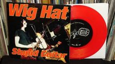 "Wig Hat ""Stupid Guitar"" 1996 red vinyl Wind Biscuit Records (NYC private press garage punk vinyl record 7"" EP)"