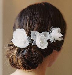floral hair pieces for brides - silk flower hair pins Flowers In Hair, Silk Flowers, Bridal Headpieces, Bridal Gowns, Bride Hair Accessories, Bridal Hair Pins, Hair Vine, Wedding Veils, Hair Pieces