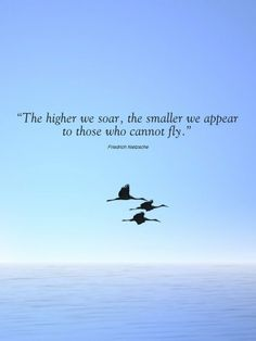 "The higher we soar the smaller we appear to those who cannot fly."" ― Friedrich Nietzsche, Thus Spoke Zarathustra High Quotes, Fly Quotes, Quotes To Live By, Motivational Quotes, Inspirational Quotes, Poem Quotes, Nietzsche Quotes, Intelligence Quotes, Energie Positive"