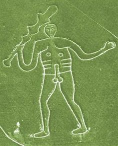 The Cerne Abbas Giant (also known as the Rude Man) in Dorset, England is carved into the side of a steep hill and formed by a 12-inch wide trench.