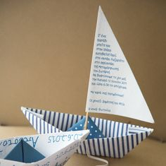 navy blue paper boat party invitations birthday / baptism invitations greek boat invitations shower party invitation seaside invitation by mytreehandmade on Etsy https://www.etsy.com/listing/489184519/navy-blue-paper-boat-party-invitations