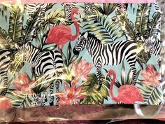"Zebra and Flamingo Pouch / Clutch Bag Wallet or Purse lined 9  x 10"" by SewnInLoveCreations on Etsy"