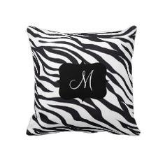 Custom Personalized Monogram Initial Zebra Stripes Pillows