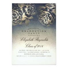 Navy Blue and Gold Foil Vintage Graduation Party Card - graduation party invitations card cards cyo grad celebration