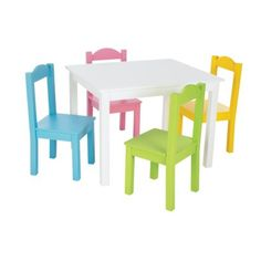 Tot Tutors Table & 4 Chairs - White/ Pastel  hollys new table and chair set in her new playroom!