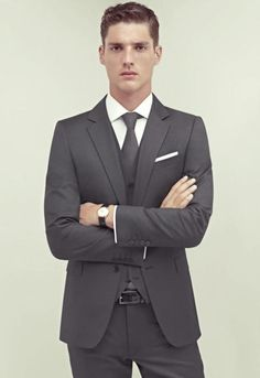 Gray interview suit. Vest not necessary but the look is crisp, professional and modern.