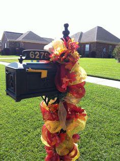 Fall Deco Mesh Mailbox Swag. $70.00, via Etsy.