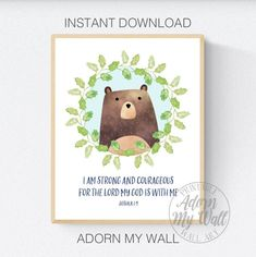 Scripture For Kids, Joshua 1:9, I Am Strong, Be Strong And Courageous, Bible Verse Nursery Wall Art, Printable, Christian Print, Bear Print Scripture Wall Art, Bible Verse Art, Be Strong And Courageous, I Am Strong, Nursery Prints, Nursery Wall Art, Scriptures For Kids, Peter Rabbit Nursery, Joshua 1