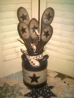Primitive Decor ~Wood Spoon Utensils & Glass Milk Can~County~Farm house Decor