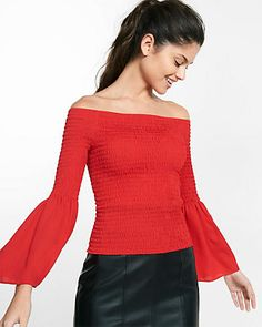 Smocked off the shoulder bell sleeve blouse #Express #shopcitadelmall