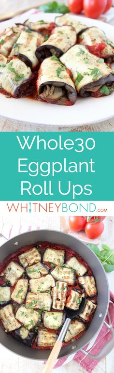 Italian seasoned ground turkey and mushrooms fill these delicious eggplant roll ups, baked in a flavorful tomato sauce. This recipe is gluten free, dairy free and Whole30 compliant! #whole30 #glutenfree #recipe