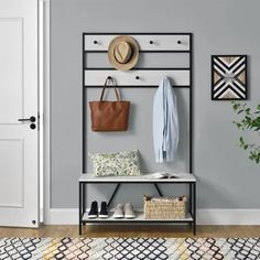 diy mudroom & entryway storage ideas (for very small spaces) 9 Entryway Hall Tree, Entryway Decor, Entryway Bench, Bedroom Decor, Iron Furniture, Furniture Deals, Living Room Furniture, Wood Storage Bench, Entryway Storage