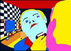 Pushwagner - The boss kunst til salgs i nettgalleriet Graphic Novel Art, Graphic Artwork, Banksy, Sword Drawing, Bear Print, Hare Krishna, Art Pop, Psychedelic, My Drawings
