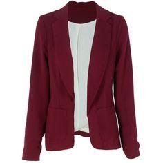 Burgundy Longline Blazer w Pockets (€6,95) found on Polyvore featuring outerwear, jackets, blazers, tops, veste, burgundy blazer, long blazer jacket, long line blazer, longline blazer and burgundy jacket