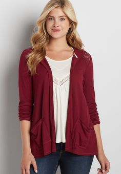 ribbed cardigan with lace and hood (original price, $32.00) available at…