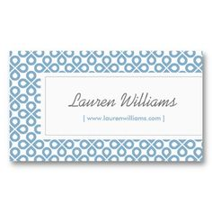 Vintage Blue Pattern Customizable Personal Business Card Template