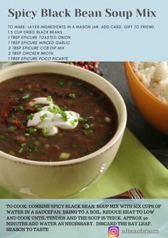 Fall in Love with Soup I'm so pumped for fall so I'm starting early! My favourite thing about fall is SOUP. These Epicure Spiced soup mixes are the perfect h. Dry Soup Mix, Soup Mixes, Epicure Recipes, Soup Recipes, Soup In A Jar, Dried Black Beans, Black Bean Soup, Cooking Classes, Clean Eating Recipes