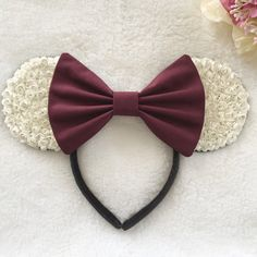 Classic White with Burgundy Floral Mouse Ears by Shoplavenderb
